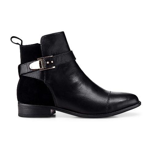 Cox Damen Damen Trend Bootie aus Leder, Schwarze