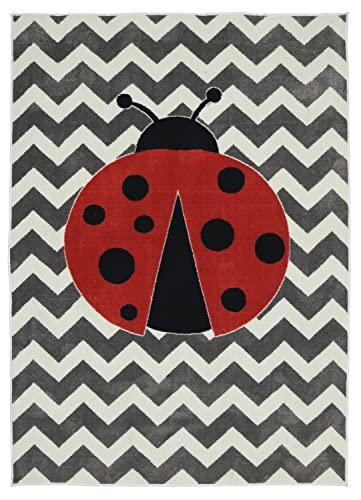 Mohawk Home Aurora Little Lady Bug Chevron Striped Printed Contemporary Kids Area Rug,5 x8 ,Gray