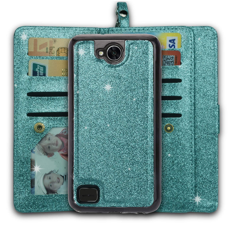 Ymhxcy LG Fiesta 2 Wallet Case,LG X Power 2/ LG X Charge / K10 Power/Fiesta LTE Phone Case,PU Leather [9 Card Slots][Detachable][Kickstand] Phone Case & Wrist Lanyard LG LV7-PT Mint