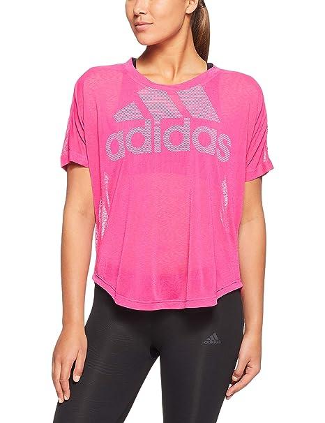 Adidas Magic Logo, Camiseta Deporte para Mujer, Rosa Real Magenta, 40 (Talla