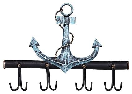 Crafia Decorated Wall Mounted Nautical Anchor Shape Iron Key Holder And Key  Hooks | Decorative Unique