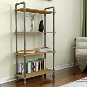 """Barnyard Designs Furniture 4-Tier Etagere Bookcase, Solid Pine Open Wood Shelves, Rustic Modern Industrial Metal and Wood Style Bookshelf, Natural, 55"""" x 29.5"""" x 11.75"""""""