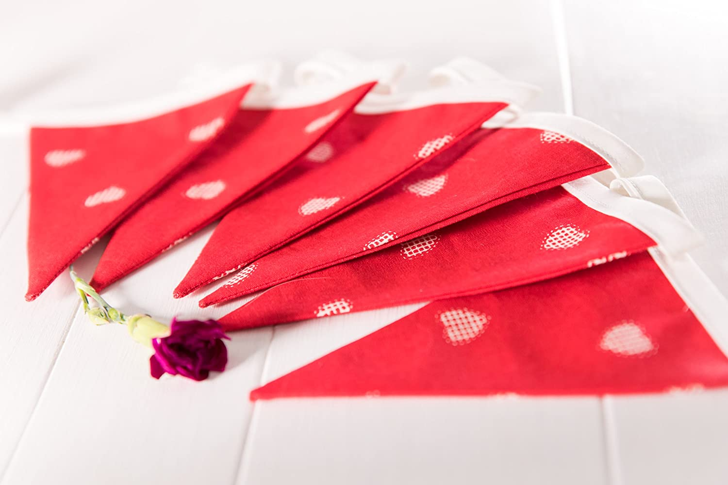 red background. Handmade Red Hearts Bunting Mini Size Perfect way to decorate a room for valentines day