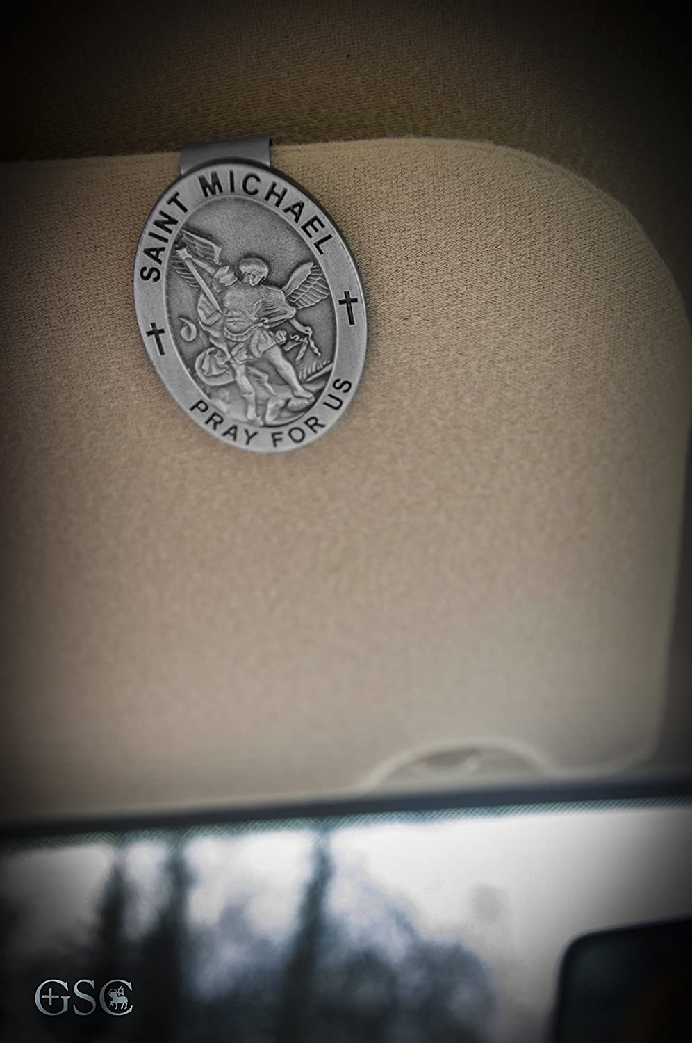 Good Shepherd Creations Pewter Visor Clip with Catholic Saint Engraving Our Lady of Guadalupe