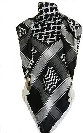 NEW Black and White Arab Arafat Shemagh Keffiyeh Scarf Neck Wrap-100/% cotton