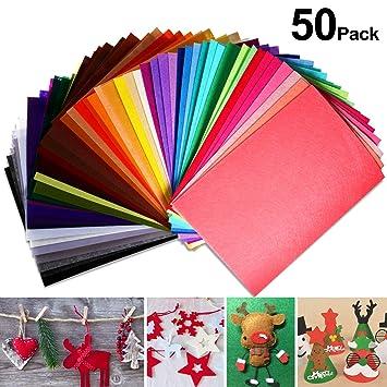 Foonii Fieltro plástico, 50 Colores Fieltro para Manualidades Fieltro Hojas Colores Poliéster 20 * 30 cm Felt Fabric Placas Fieltro para DIY Artesanía ...
