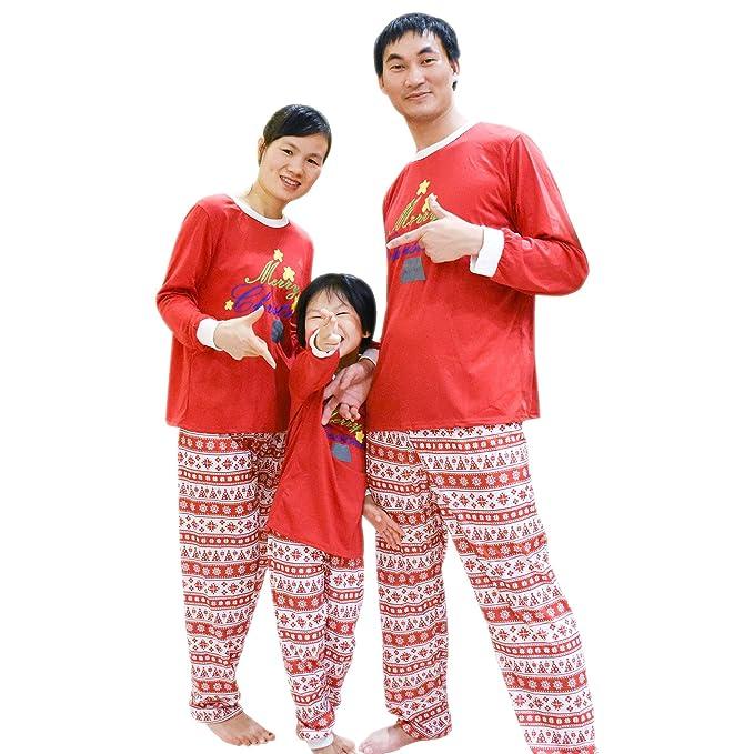 a39c2d4816 BOZEVON Natale Famiglia Corrispondenza Pigiami - Indumenti da Notte Manica  Lunga Camicetta + a Strisce Pantaloni