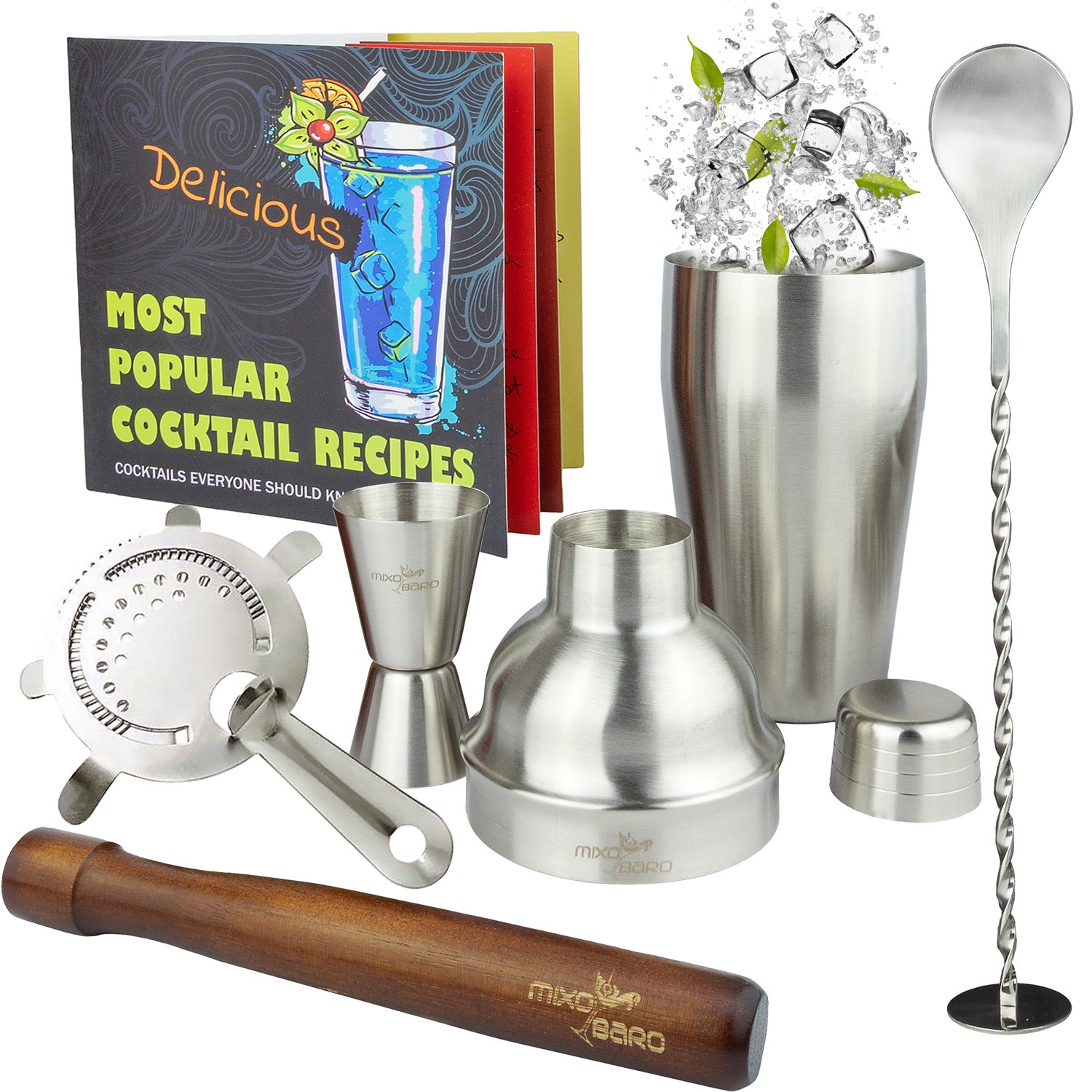 75c711186fa49 MIXOBARO Professional Manhattan Cocktail Making Set - Stainless Steel Cocktail  Shaker Kit with Starter Recipe Book and Cocktails Maker Accessories -  Classic ...