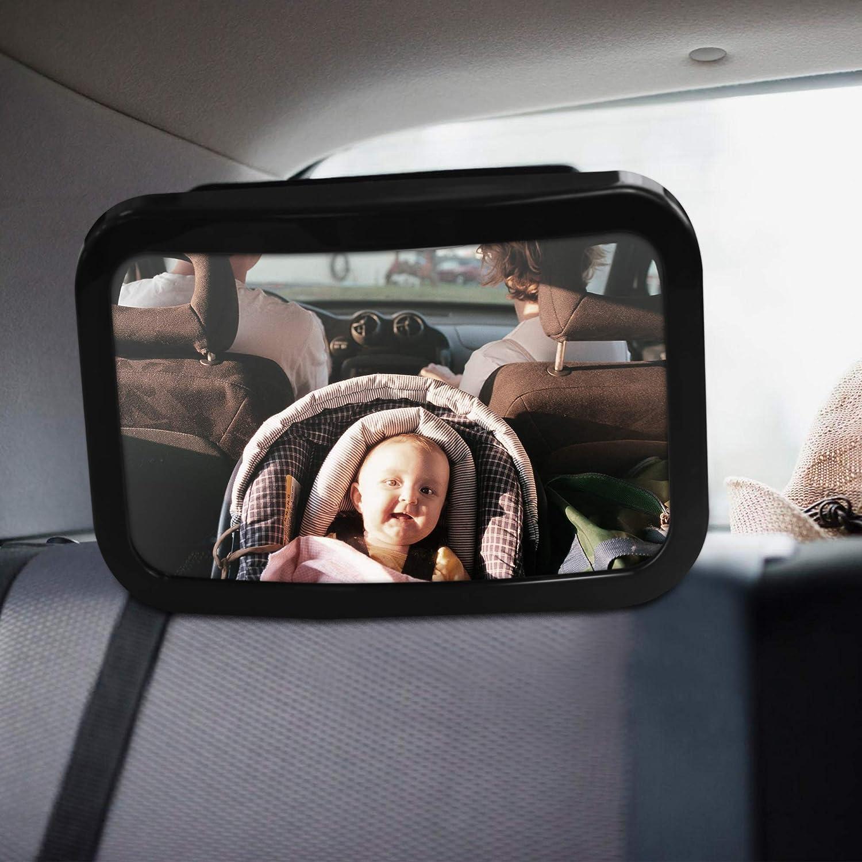 Parnerme Baby Sedile Posteriore Specchio per Bambino Specchio infrangibile per Auto seggiolino Auto in Posizione in Senso Vista grandangolare Specchio Convesso