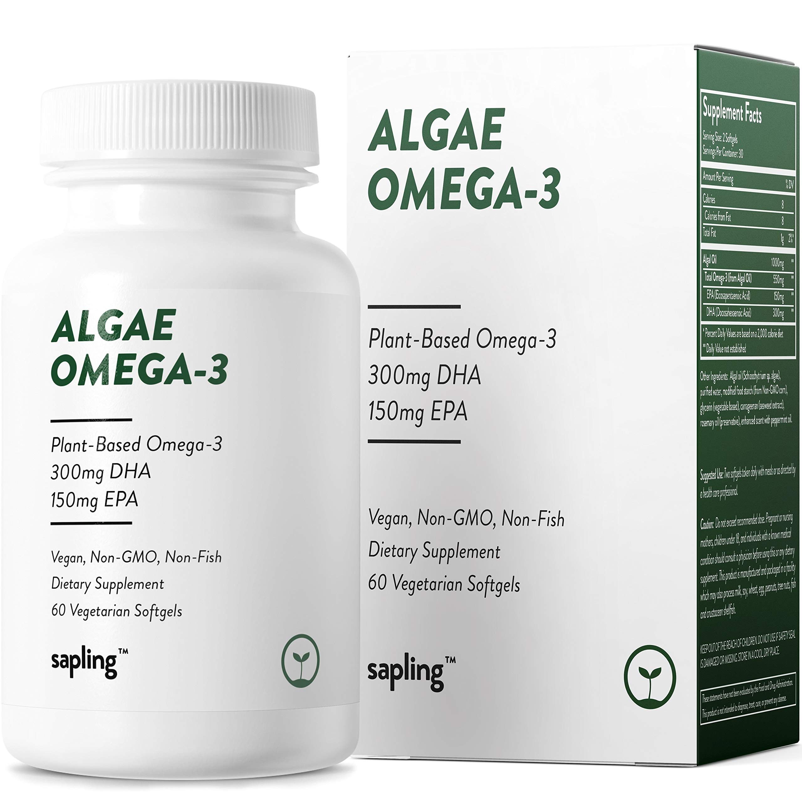Vegan Omega 3 Supplement - Plant Based DHA & EPA Fatty Acids Alternative to Fish Oil - Supports Heart, Brain, Joint Health - Sustainably Sourced from Algae. Fish Oil Free for Men & Women - 60 Softgels by sapling
