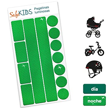 Pegatinas luminosas SafeKIDS, VERDE, 13 unidades para cochecitos de bebé, bicicletas, cascos