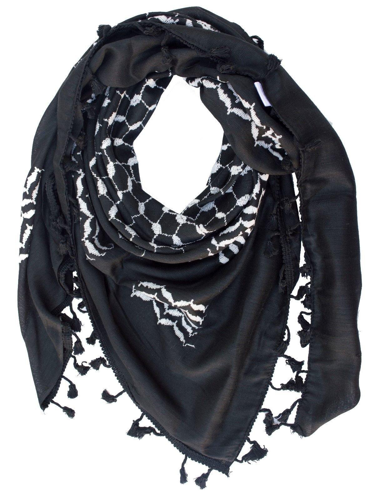 Hirbawi Premium Arabic Scarf 100% Cotton Shemagh Keffiyeh 47''x47'' Arab Scarf (White on Black)