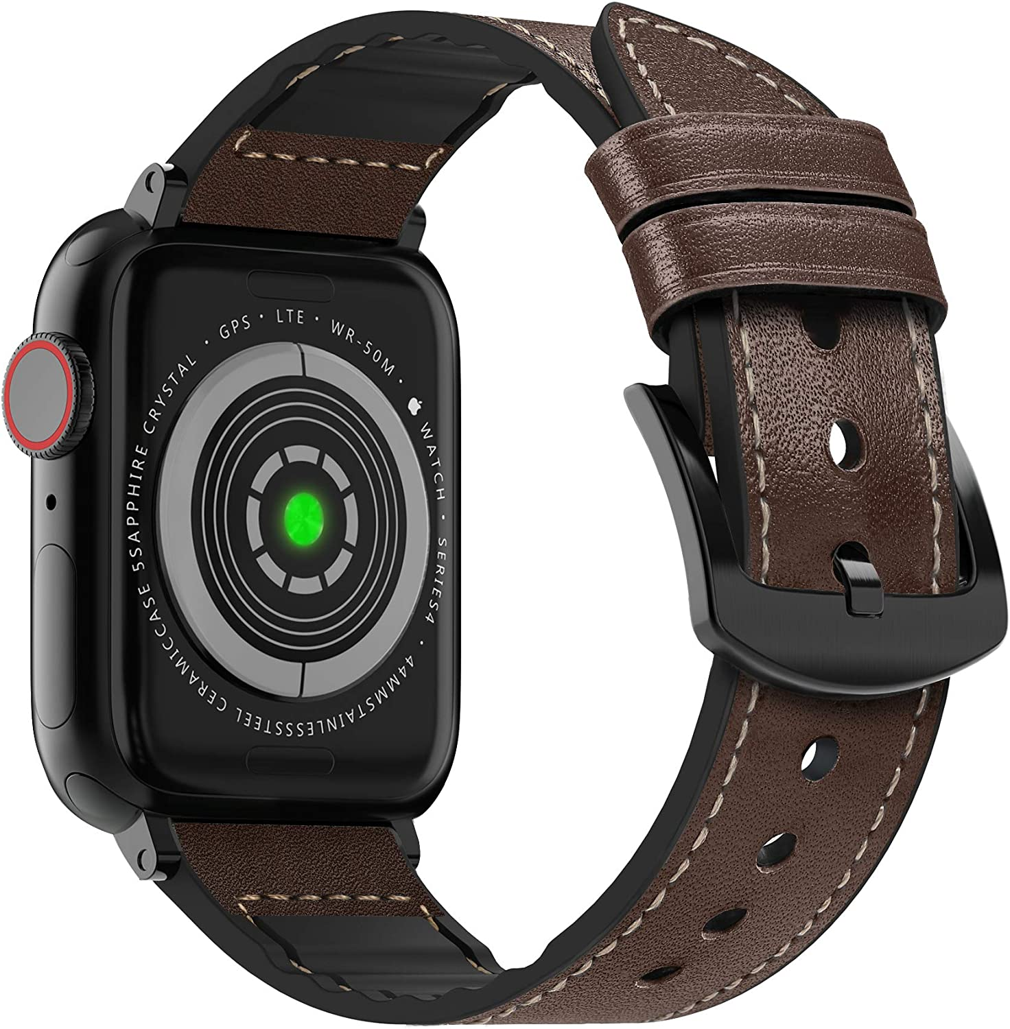 MARGE PLUS Compatible Apple Watch Band 40mm 38mm, Sweatproof Hybrid Genuine Leather and Silicone Sports Watch Band Replacement for iWatch SE Series 6 5 4 3 2 1, Dark Brown