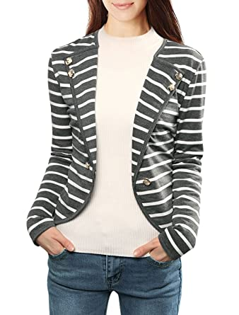 Allegra K Ladies Notched Lapel Button Decor Striped Blazer at ...
