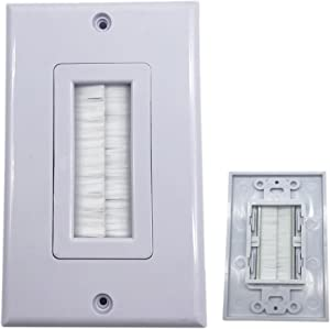 CERRXIAN Single Brush Gang Media Cables Pass Through Receptacle Wall Face Plate
