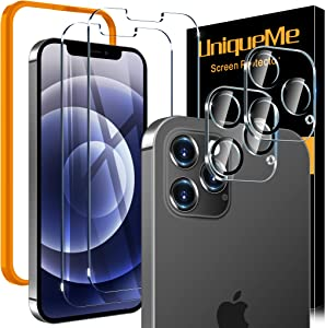 [2+2] UniqueMe Screen Protector Compatible with iPhone 12 Pro 5G (6.1 inch) [Not for iPhone 12 ], 2 Pack Tempered Glass + 2 Pack Camera Lens Protector, [Alignment Installation Frame] HD Clear
