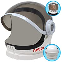 Astronaut Helmet with Movable Visor Pretend Play Toy Set for School Classroom Dress Up, Role Play Accessory, Stocking, Birthday Party Favor Supplies, Girls, Boys, Kids and Toddler. White