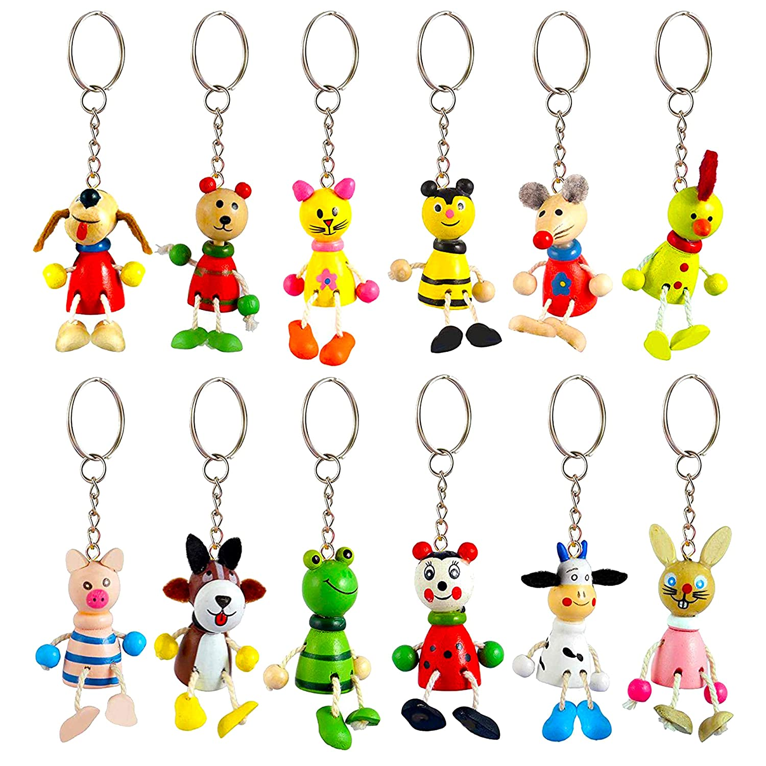 Animal Wooden Key Chain Rings Party Bag Key chain