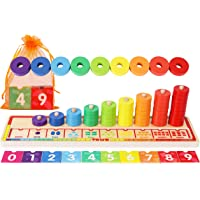 Wooden Stacking Rings and Counting Games with 45 Rings Number Blocks- Counting Ring Stacker-Wooden Sorting Counting toy…