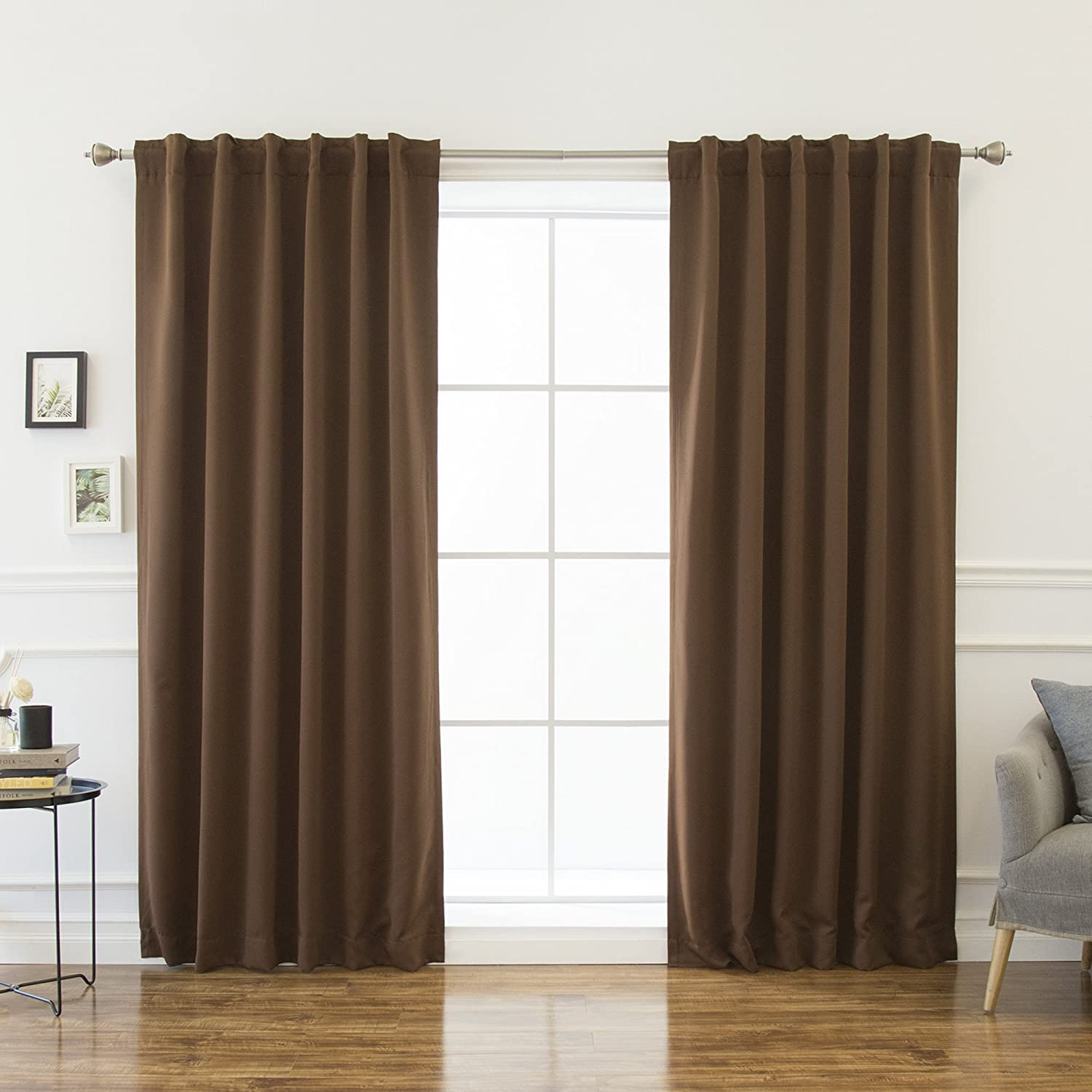 Best Home Fashion Basic Thermal Insulated Blackout Curtains - Back Tab/Rod Pocket Grommet Top - Grey - 52W x 63L No tie back (1 Panel) BEWBU SINGLE-SOLID-63-GREY