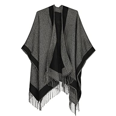 064a361f72e Womens Ladies Two Sided Shawl Poncho Cape Pashmina Shawl Blanket Cape Beach  Cover Ups Plus Size (Black and Grey) at Amazon Women s Clothing store