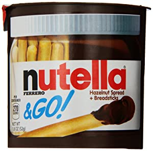 Nutella and Go Snack Packs, Chocolate Hazelnut Spread with Breadsticks, Perfect Bulk Snacks for Kids' Lunch Boxes, 1.9 Ounce, Pack of 48