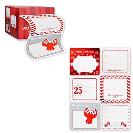 Review Jumbo Christmas Gift Tag Stickers 60 Count Modern Red, White, Silver, and Gold Xmas Designs - Looks Great on Gifts Presents, Wrapping Paper and Gift Bags.