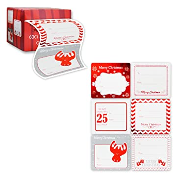 Amazon.com: Jumbo Christmas Gift Tag Stickers 60 Count Modern Red ...