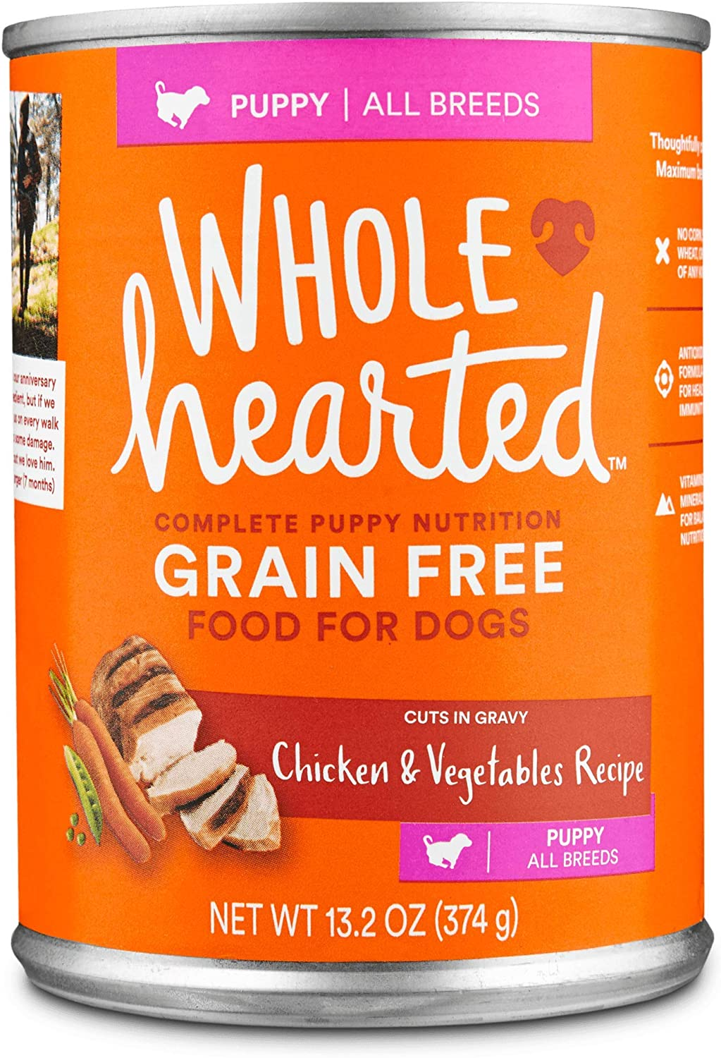 WholeHearted Grain Free Puppy Chicken and Vegetable Recipe Wet Dog Food, 13.2 oz., Case of 12, 12 X 13.2 OZ