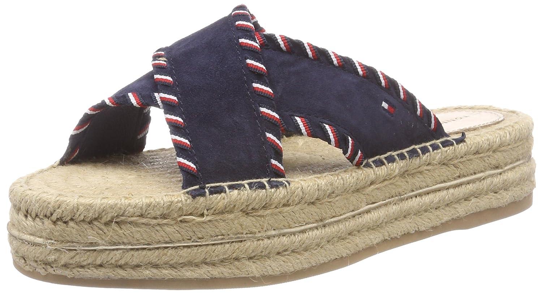 Tommy Hilfiger Sandale Damen Interlace Suede Flatform Sandale Hilfiger PlateauSandale, Blau (Rwb 020) c4dcc1