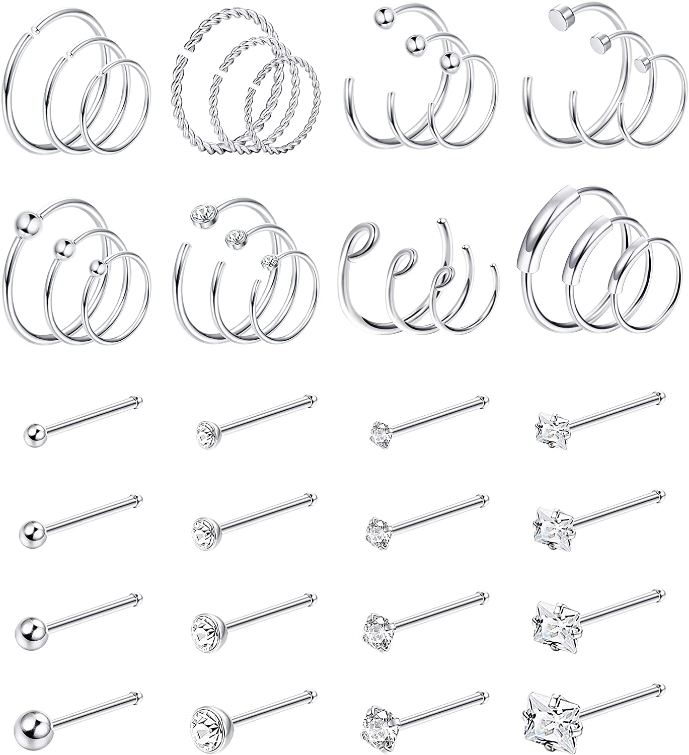 Amazon Com Jstyle 40pcs C Shaped Nose Ring Hoop For Mens Women