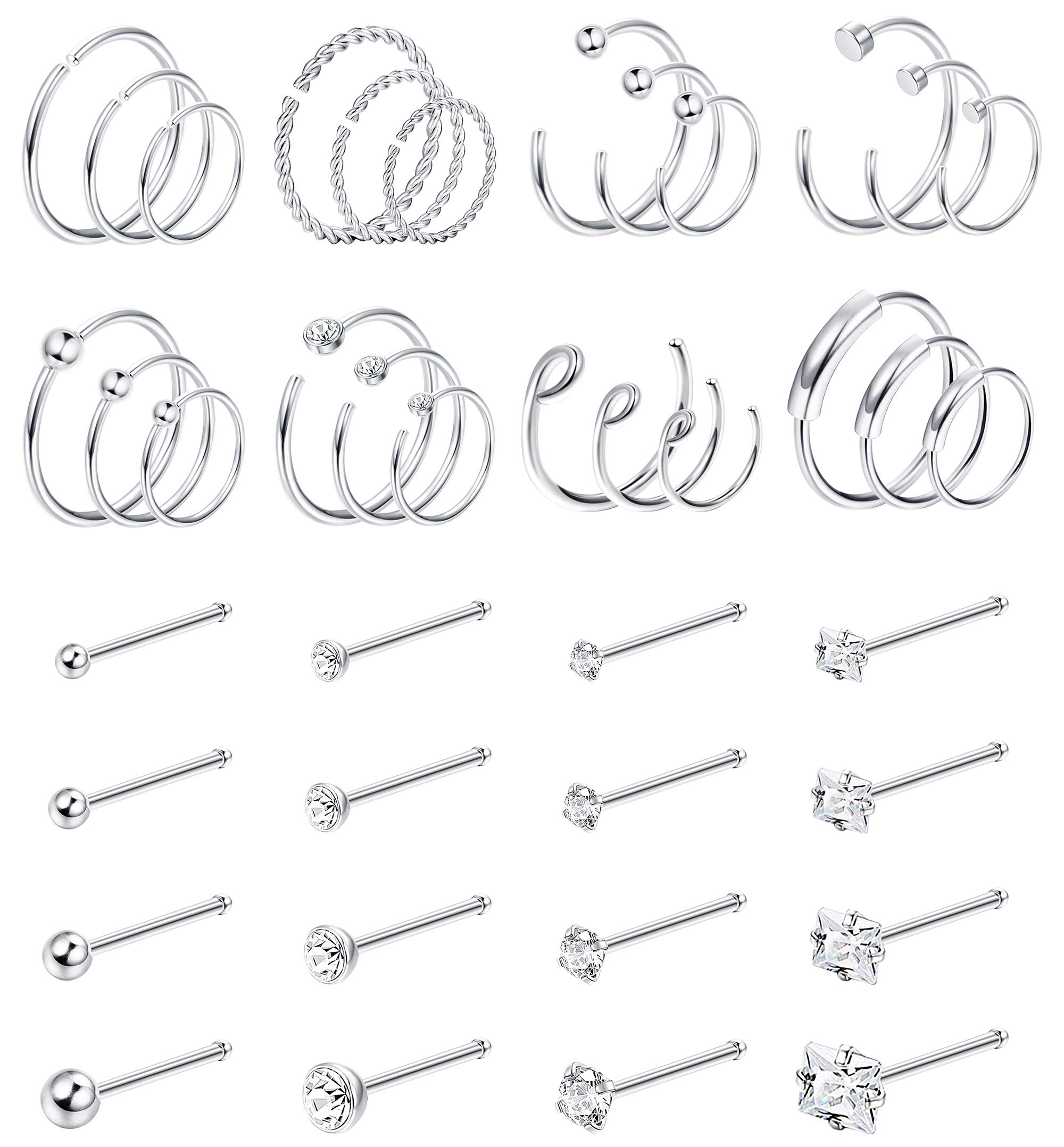Jstyle 40Pcs C-Shaped Nose Ring Hoop for Mens Women Bone-Shaped Nose Studs Stainless Steel Nose Piercing Cartilage Tragus Piercing Jewery Silver Tone by Jstyle
