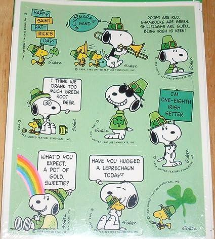 amazon com hallmark peanuts snoopy 2 sheets irish st patrick s