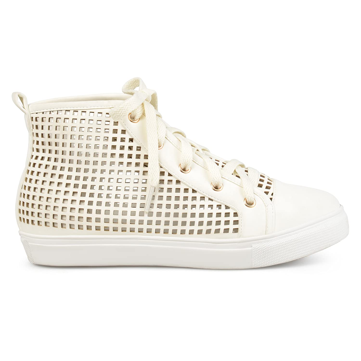 Brinley Co Womens Faux Leather High-Top Lace-up Laser-Cut Sneakers B073RRJYRH 9 B(M) US|White
