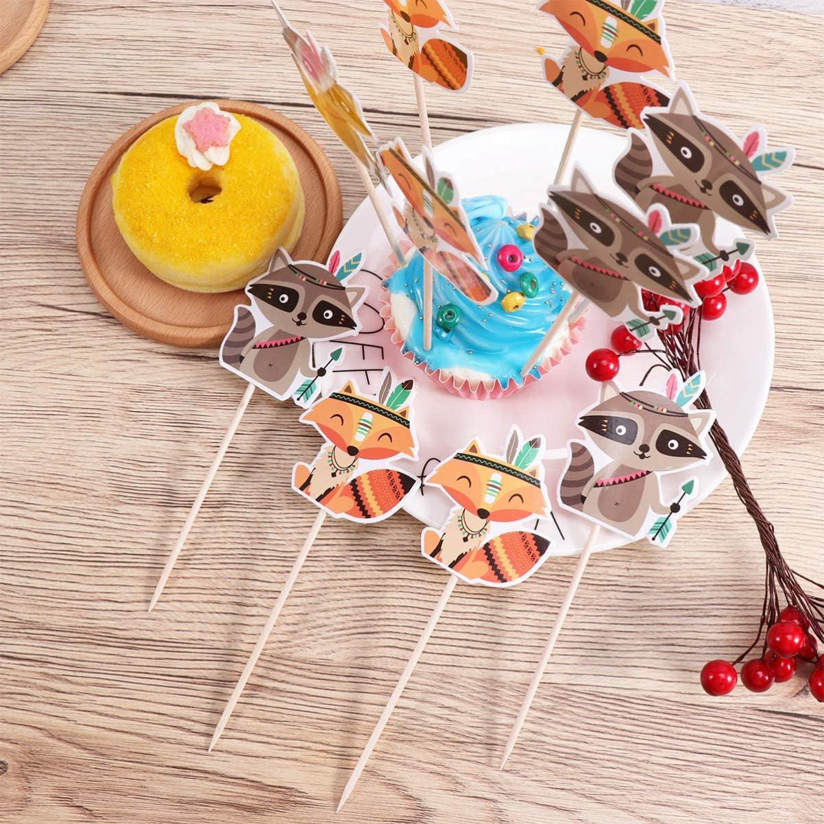Amosfun 24pcs Thanksgiving Cupcake Toppers Choix de g/âteau Renard Indien Topper ins/érer des Fournitures de Parti pour Le Jour de Thanksgiving d/écors