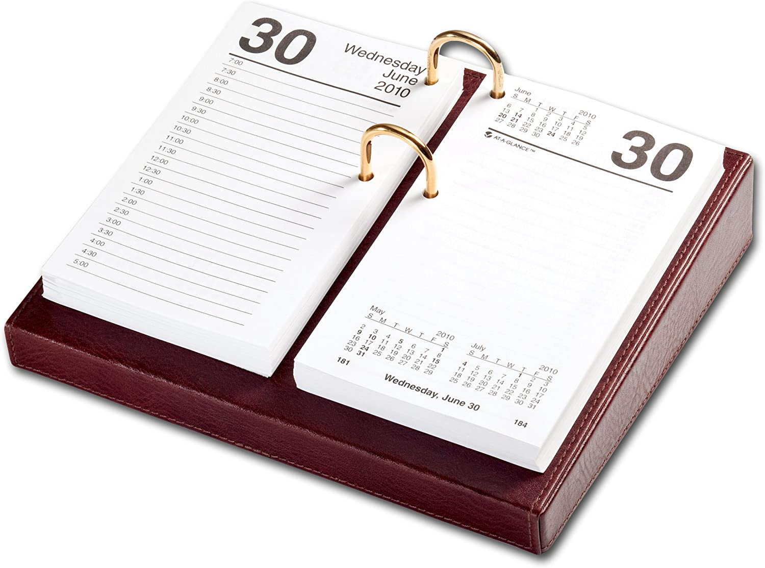 3.5-Inch by 6-Inch Dacasso Black Leather Desktop Calendar Holder with Gold Bolts