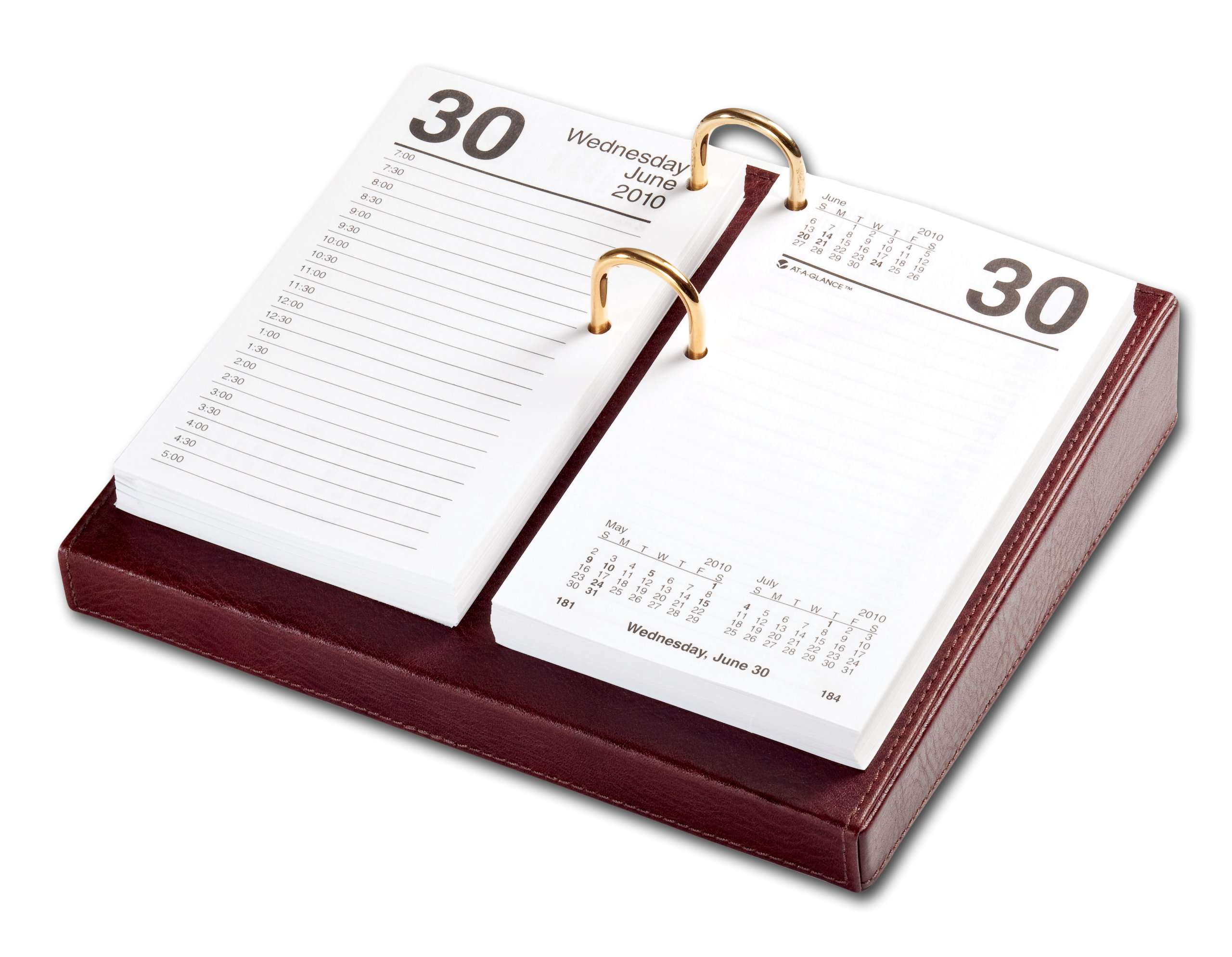 Dacasso Mocha Leather Desktop Calendar Holder with Gold Bolts, 3.5-Inch by 6-Inch