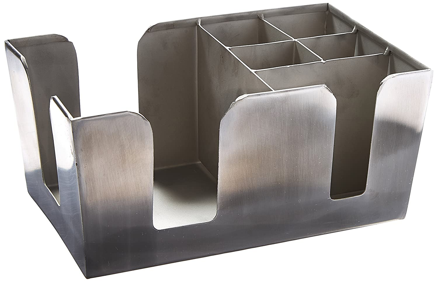 American Metalcraft BARS7 Stainless Steel Bar Caddy with 6 Compartments, Satin Finish, Silver