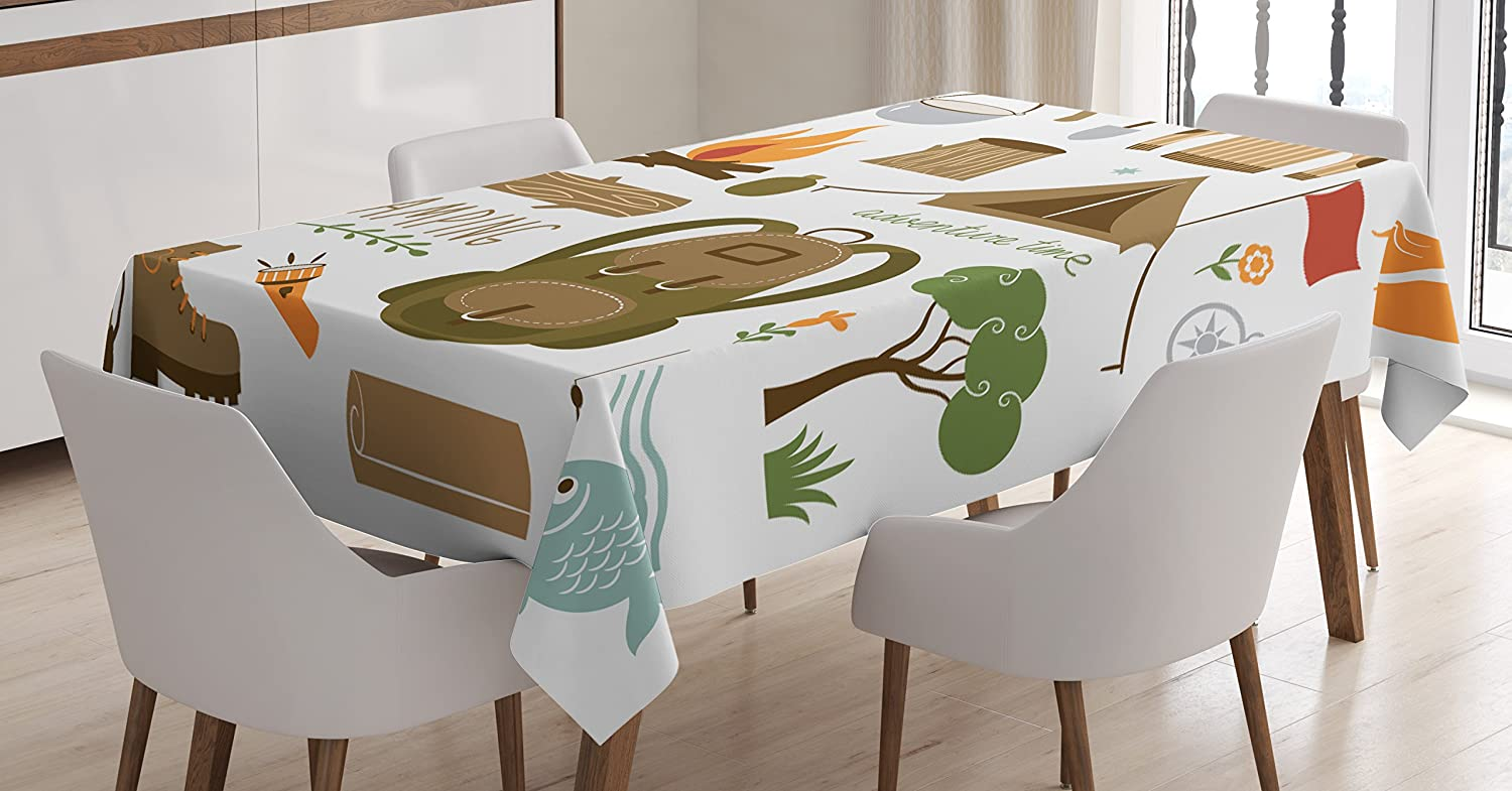 Amazon Com Ambesonne Adventure Tablecloth Camping Equipment Sleeping Bag Boots Campfire Shovel Hatchet Log Artwork Print Dining Room Kitchen Rectangular Table Cover 52 X 70 Multicolor Home Kitchen