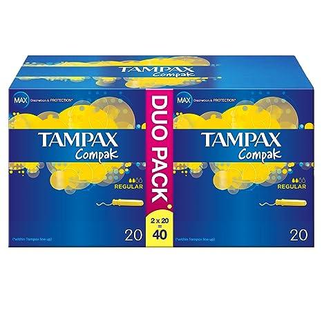 Tampax Compak Regular Aplicador tampones - Paquete de 40