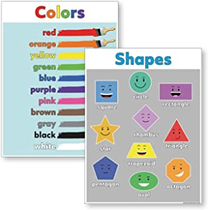 Shapes Poster & Colors Poster (18x24 LAMINATED) Ideal Preschool Classroom Posters (2 posters included)