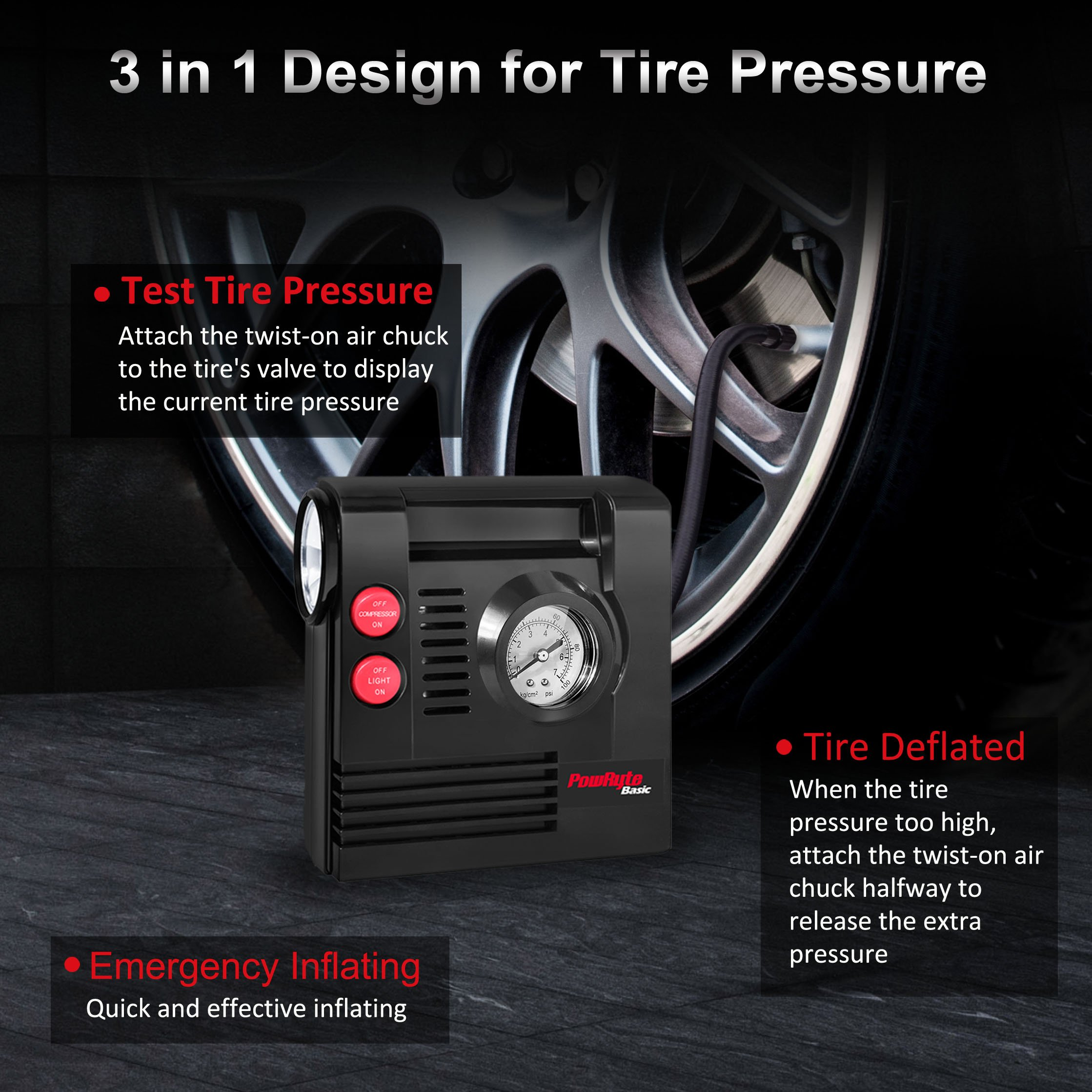 PowRyte Compact Digital Tire Inflator with Built-in Flashlight - Portable Air Compressor (Tire Inflator) by PowRyte (Image #2)
