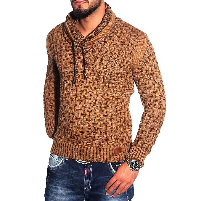 BAXBOY 16035 Herren Schalkragen Pullover Grobstrick Pulli Sweatshirt Strickjacke