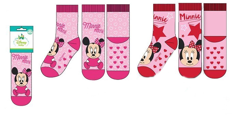 Pack 2 pares de calcetines bebe antideslizantes diseñ o Minnie Mouse (Disney) 2 modelos diferentes , alta calidad (6-12 meses) HQ5606