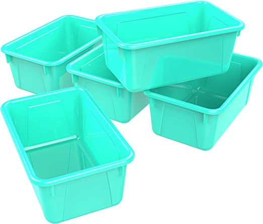 Storex Small Cubby Bins Pack Of 5 12 2 X 7 8 X 5 1 Inches Teal 62420u05c Office Products Amazon Com
