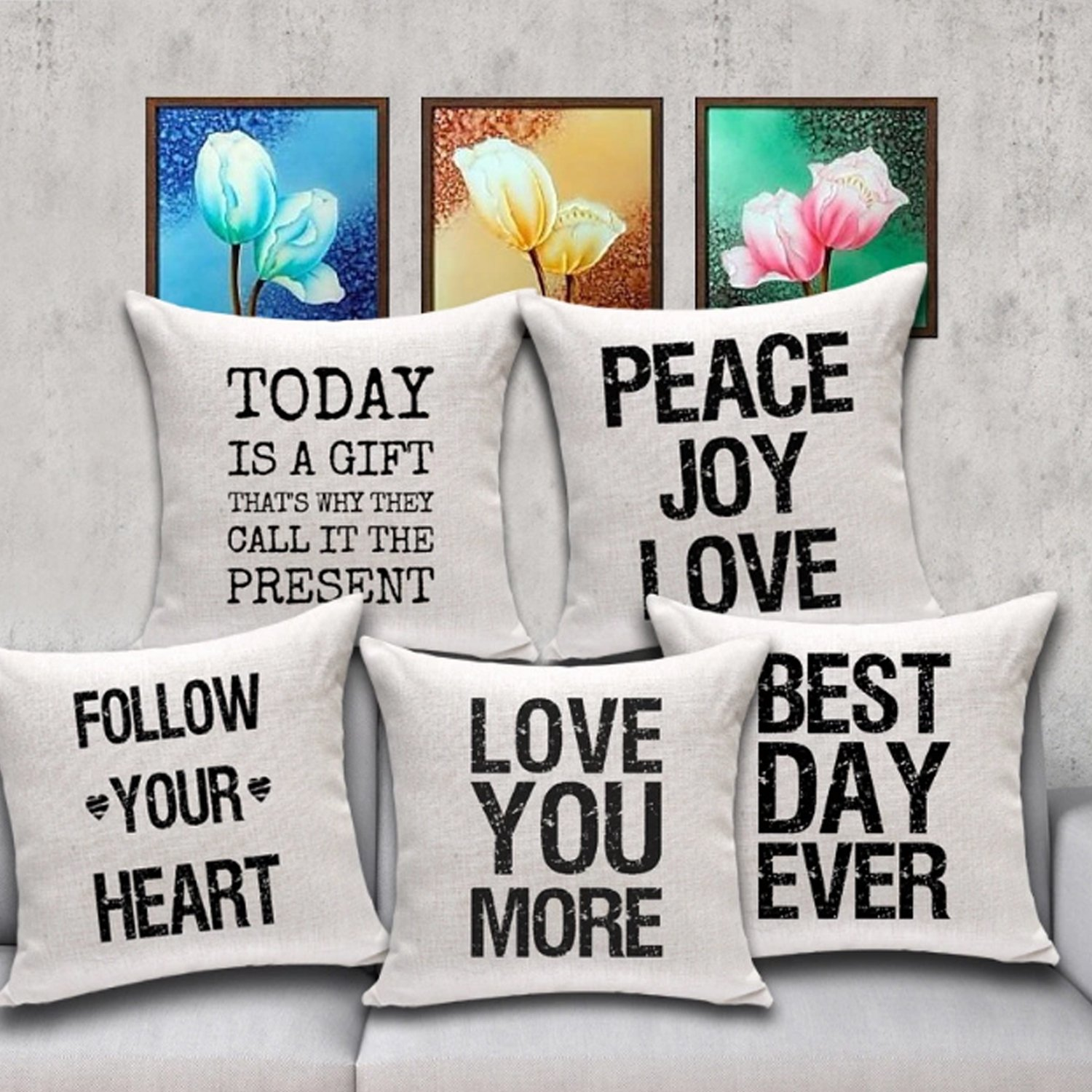 2, Floral Live Simply 2 Pcs Meaningful English Writing Inspirational Words Quotable Quotes Cotton Linen Decorative Pillowcase Cushion Cover for Sofa Throw Pillow Case 18 X 18 Inch Queenie/®