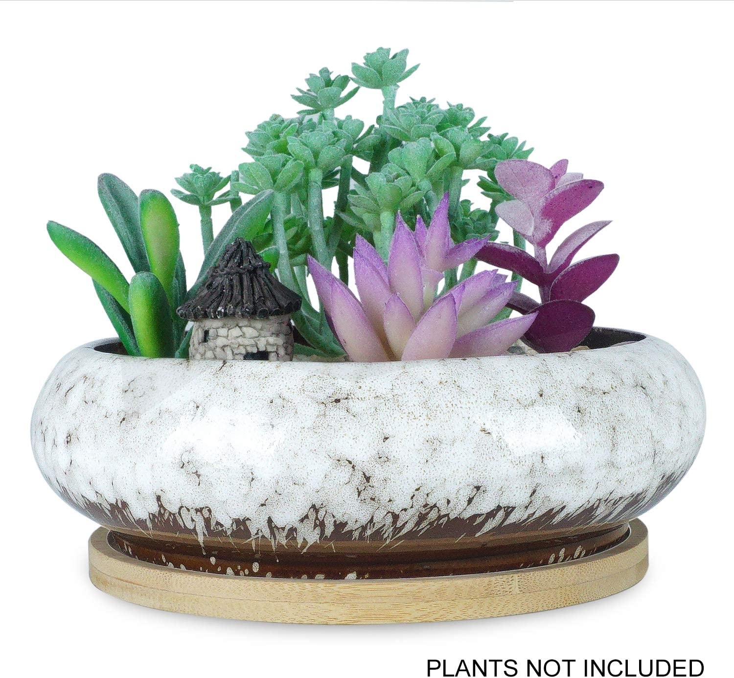7.3 inch Round Succulent Planter Pots with Drainage Hole Bonsai Pots Garden Decorative Cactus Stand Ceramic Glazed Flower Container with Bamboo Tray, White