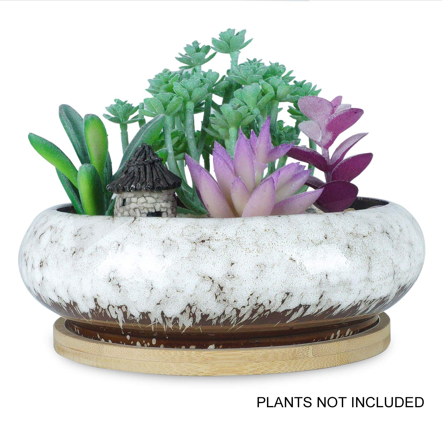 7.3 inch Round Succulent Planter Pots with Drainage Hole Bonsai Pots Garden Decorative Cactus Stand Ceramic Glazed Flower Container White, with Bamboo Tray