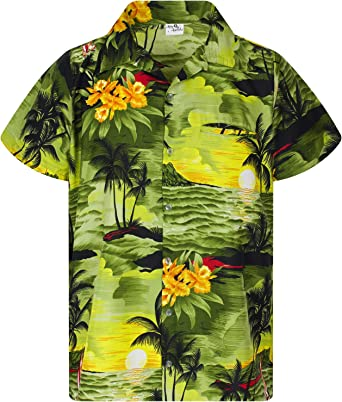 King Kameha Hawaiian Shirt for Men Funky Casual Button Down Very Loud Shortsleeve Unisex Small Flower