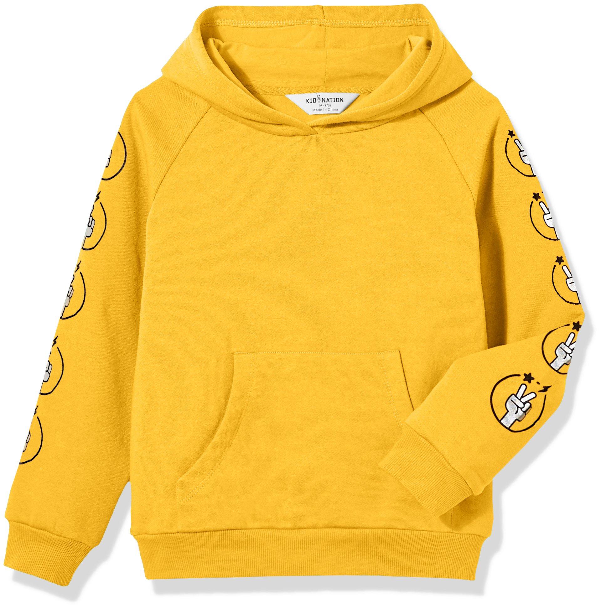 Kid Nation Kids' Solid Fleece Hooded Pullover Sweatshirt for Boys Girls XL Yellow